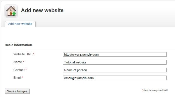 Enter details for new website