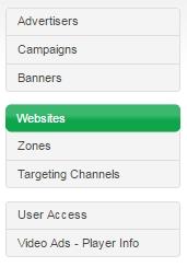 Websites link in menu